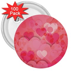 Hearts Pink Background 3  Buttons (100 Pack)