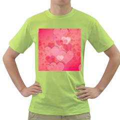 Hearts Pink Background Green T Shirt