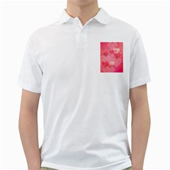 Hearts Pink Background Golf Shirts