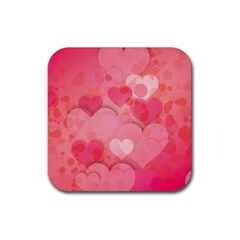 Hearts Pink Background Rubber Coaster (square)