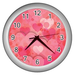 Hearts Pink Background Wall Clocks (silver)