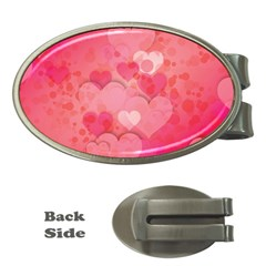 Hearts Pink Background Money Clips (oval)