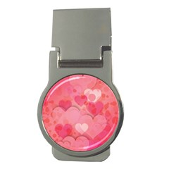 Hearts Pink Background Money Clips (round)