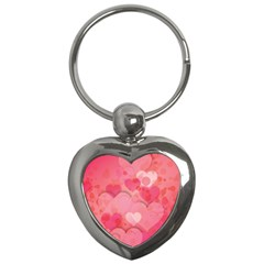 Hearts Pink Background Key Chains (Heart)