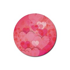 Hearts Pink Background Rubber Round Coaster (4 Pack)