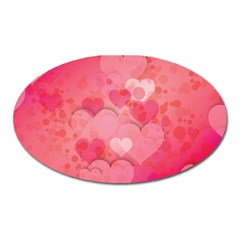 Hearts Pink Background Oval Magnet