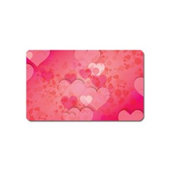 Hearts Pink Background Magnet (name Card)
