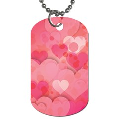 Hearts Pink Background Dog Tag (one Side)