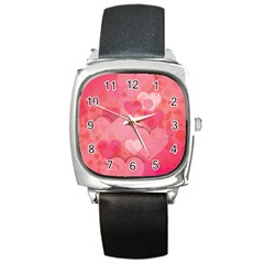 Hearts Pink Background Square Metal Watch