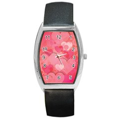 Hearts Pink Background Barrel Style Metal Watch