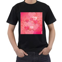 Hearts Pink Background Men s T Shirt (black) (two Sided)