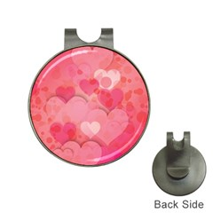 Hearts Pink Background Hat Clips With Golf Markers