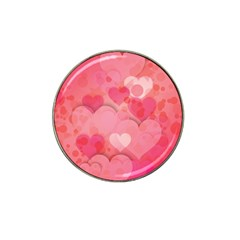 Hearts Pink Background Hat Clip Ball Marker (10 Pack)