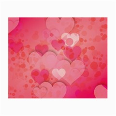 Hearts Pink Background Small Glasses Cloth
