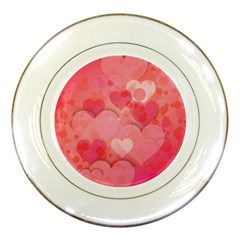 Hearts Pink Background Porcelain Plates
