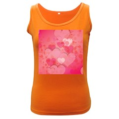 Hearts Pink Background Women s Dark Tank Top