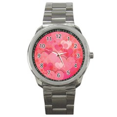 Hearts Pink Background Sport Metal Watch