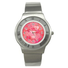Hearts Pink Background Stainless Steel Watch