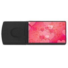 Hearts Pink Background Usb Flash Drive Rectangular (4 Gb)