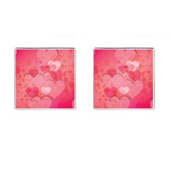 Hearts Pink Background Cufflinks (square)