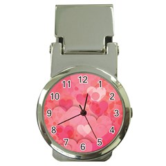 Hearts Pink Background Money Clip Watches