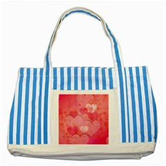 Hearts Pink Background Striped Blue Tote Bag