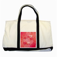 Hearts Pink Background Two Tone Tote Bag