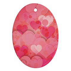 Hearts Pink Background Oval Ornament (two Sides)