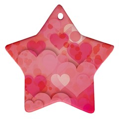 Hearts Pink Background Star Ornament (two Sides)