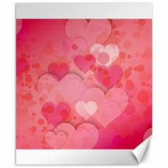 Hearts Pink Background Canvas 8  X 10