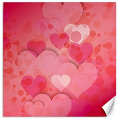 Hearts Pink Background Canvas 12  x 12