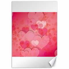 Hearts Pink Background Canvas 12  X 18