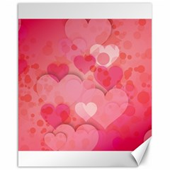 Hearts Pink Background Canvas 16  X 20