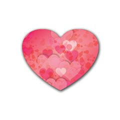 Hearts Pink Background Heart Coaster (4 Pack)