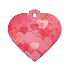 Hearts Pink Background Dog Tag Heart (one Side)
