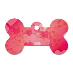 Hearts Pink Background Dog Tag Bone (two Sides)