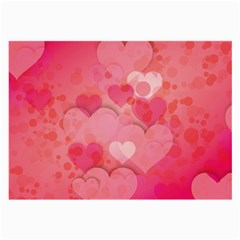 Hearts Pink Background Large Glasses Cloth