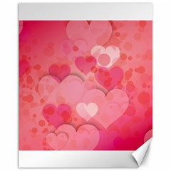 Hearts Pink Background Canvas 11  X 14