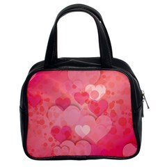 Hearts Pink Background Classic Handbags (2 Sides)