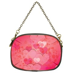 Hearts Pink Background Chain Purses (One Side)