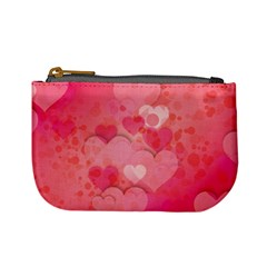 Hearts Pink Background Mini Coin Purses