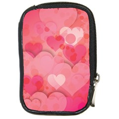 Hearts Pink Background Compact Camera Cases