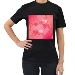Hearts Pink Background Women s T Shirt (black)