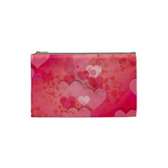 Hearts Pink Background Cosmetic Bag (small)