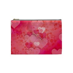 Hearts Pink Background Cosmetic Bag (medium)