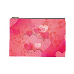 Hearts Pink Background Cosmetic Bag (large)