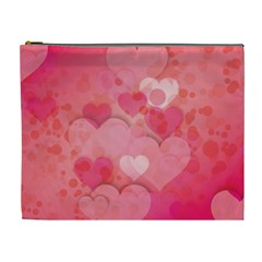Hearts Pink Background Cosmetic Bag (xl)