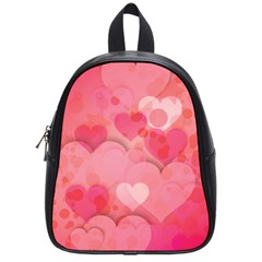 Hearts Pink Background School Bags (small)