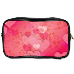 Hearts Pink Background Toiletries Bags 2 Side