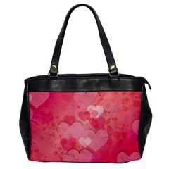 Hearts Pink Background Office Handbags